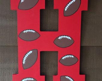 Wood Letter H Doorhanger {Footballs}