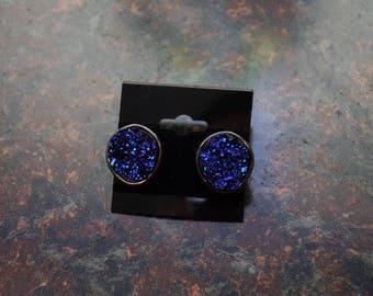 blue sparkle stone earrings