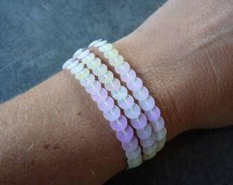 White sequins MULTISTRAND pearl bracelet