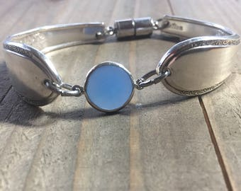 Spoon Bracelet, Blue chaldency and spoon handle bracelet, silverware bracelet, spoon jewelry, silverware jewelry, flatware bracelet,