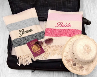 Personalised Honeymoon Mr and Mrs Beach Towels, Set of Pink and Black Striped towels, Bride & Groom Wedding Gift, ANY TEXT
