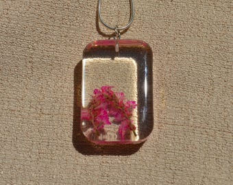 Real Flowers in Necklace, Pink Flowers, Resin Jewelry