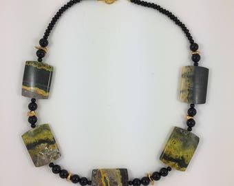 Jasper & Onyx Bead Necklace by Pottery Lovely