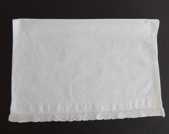 "Vintage 14 1/2"" x 20 1/4"" White Cotton Baby Pillowcase Pillow Case Cover Lace Edging"