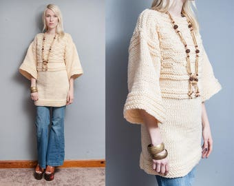 Vintage 1970's | Ivory | Handmade | Bell Sleeves | Boho | Pullover | Boat Neck | Sweater | M