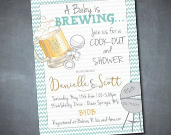 Baby is Brewing Invitation/Couples Baby Shower Invitation/baby boy, baby girl,  gender neutral/Printable/Digital file/wording can be changed