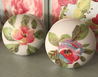 Cath Kidston Ceramic Decoupage Drawer Knobs x 4