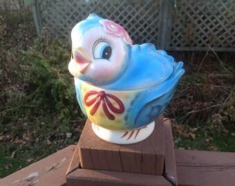 Vintage cookie jar Lefton blue bird