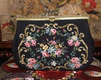Beautiful French Vintage Needelpoint Purse Bag/Vintage c.1950s Needlepoint Floral Bag/Amazing Handmade Embroidered Needlepoint Floral Bag