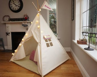 Teepee, Child Tipi tent, Plain teepee, large teepee, Indoor Play Tent.  All poles included.   Taytum and Oakley Simplicity Tepee