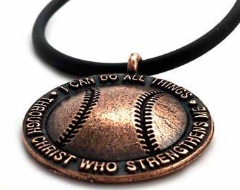 Baseball Necklace Copper