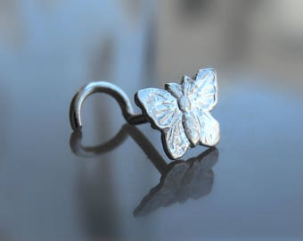 Butterfly Nose Stud - Unique Nose Stud - Nose Screw - 20g Cartilage Earring