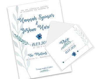 Blue Pansy, A5 Wedding Invitation & Rsvp set