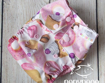 Watercolor donuts adjustable cloth diaper with snaps / cupcake cloth diaper / watercolor print /EXCLUSIVE Papyrana design