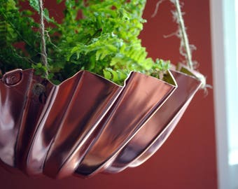 Upcycled Vintage Copper Mold Hanging Planter