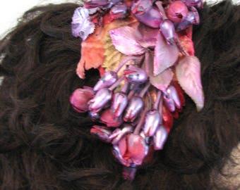 Vintage Hat Headband Fuschia Floral Velvet Leaves