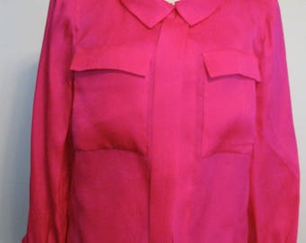 Vintage Blouse 1970s Estevez Blouse Designer Luis Hot Pink Jacket