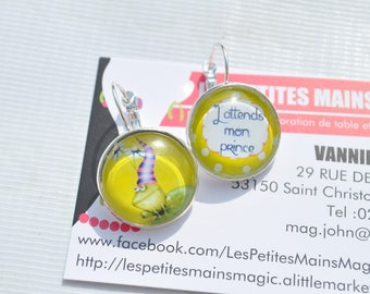 """""""earring chic cabochon 2cm ' waiting for my prince"""""""
