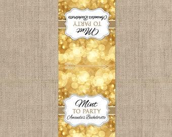 10 Gold Tic Tac Labels, Bachelorette Tic Tac Favors, Gold, Gold Labels, Personalized Favor, Tic Tac Labels, Tic Tac Party Supplies