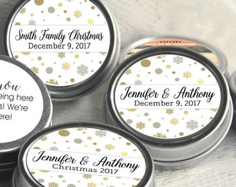 Personalized Christmas Mint Tins, Corporate Christmas Favors, Wedding Favors, Mint Favor Tins -  Gold Snowflakes - Set of 12 - Party Ideas