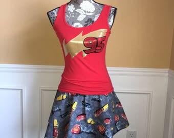 Lightning race car Inspired Running Costume skirt/tank top