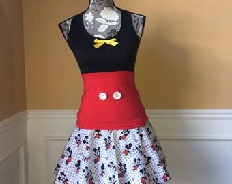 Mick-E MOUSE inspired running skirt costume tank/skirt