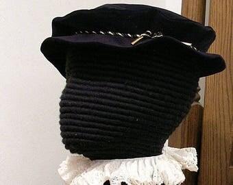 Tudor - Elizabethan Velveteen Flat Cap with Cord Hatband