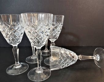 Cristal D'Arques - Dauphine - Cut Crystal Water Goblet - Wine Glasses - Set of 6 - Made in France -Mid Century Stemware - Holiday Table