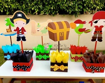 Pirate birthda party wood guest table centerpiece decoration Pirate Party Decoration Jake Pirate Birthday Party Centerpieces INDIVIDUAL