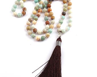 Amazonite Stone Bead Buddha Charm Brown Tassel Necklace 32 Inches