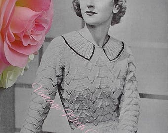 "Vintage 1930s Knitting Pattern Lady's Stunning Jumper. Designed To Fit A 34-36"" Bust."