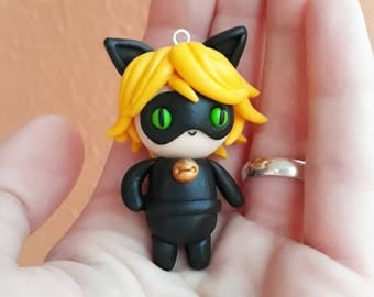 Cat Noir Figure as Necklace or Keychain Miraculous Ladybug Chibi Kawaii