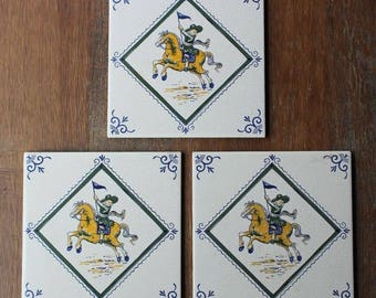 Vintage Villeroy & Boch TILE TRIVET Mettlach Made in Germany Saar Set of 3 Tiles