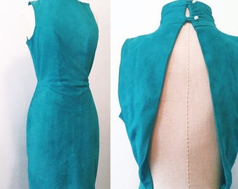 Teal Suede Turtle Neck/Open Back Dress