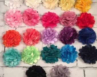 """Satin Flower, Satin Mesh Flower, 2"""" Flower, Headband Flower, Hairbow Accessories, Hairbow Flowers, Satin Flower"""