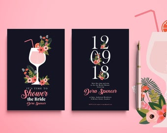 BLACK and PINK BRIDAL Shower Invitation, Pink and Black Bridal Shower Invitation, Modern Bridal Shower Invitation, Pink Bridal Shower Invite