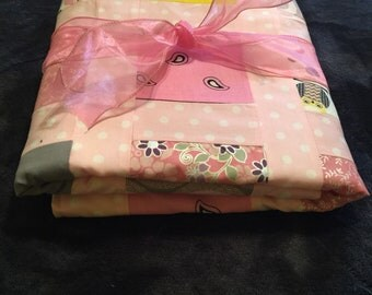 Pretty in pink owls baby quilt