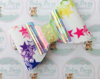Rainbow Bright Star Double Bow  -Hairbows-Hairbands-Bows-Girls Hairbow