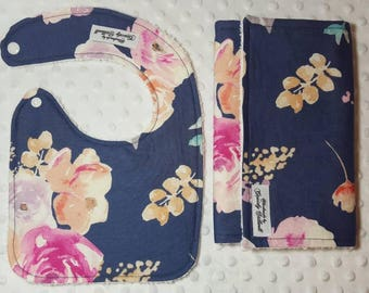 Navy Floral Baby Gift Set