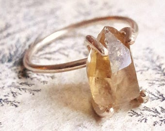Natural Citrine Crystal Ring - Raw Crystal Ring - Rough Stone Ring - Citrine Engagement Ring - Filled Gold Ring - November Birthstone Ring