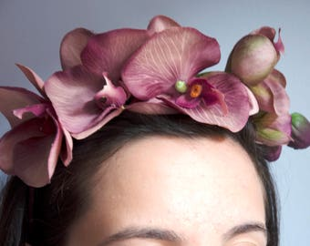 Orchids Headband Fascinator/ Tocado con Orquideas/Wedding hats and Fascinators/Races/Perfect Guest/Bridesmaid/Diadema de orquideas