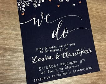 Wedding invitation handmade, calligraphy on card. Custom made to order.