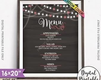 "Wedding Menu, Dinner Menu Board, Faux Chalkboard Menu, Graduation Party, Birthday Menu, 8x10/16x20"" Chalkboard Style Printable Menu Sign"