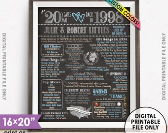 "20th Anniversary Gift, Married in 1998 Anniversary Poster, Flashback to 1998 Flashback 20 Years, Chalkboard Style PRINTABLE 8x10/16x20"" Sign"