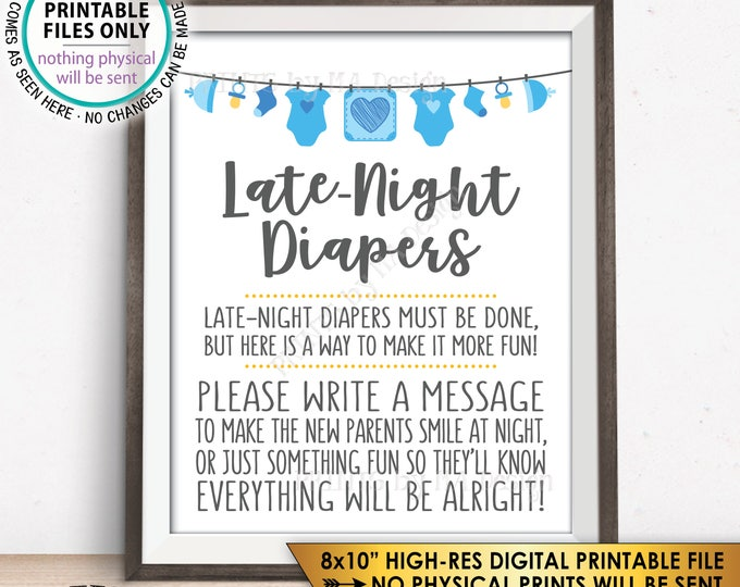 "Late Night Diaper Sign, Late-Night Diapers Sign the Diaper Thoughts, It's a Boy, Blue PRINTABLE 8x10"" Instant Download Baby Shower Game Sign"