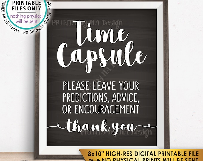 """Time Capsule, Wedding Guest Book Alternative, Baby Shower Time Capsule Sign, Bridal Shower, 8x10"""" Chalkboard Style Printable Sign <ID>"""