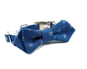 Luxury Dog or Cat Bow Tie - The EZRA // Contemporary (nautical chambray anchor print)