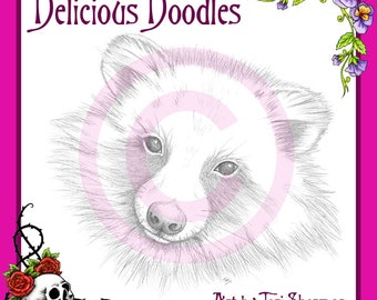 Greyscale Takuni, Raccoon Dog Sketch, Illustration, Digital Stamp, Colouring Page, Coloring Page