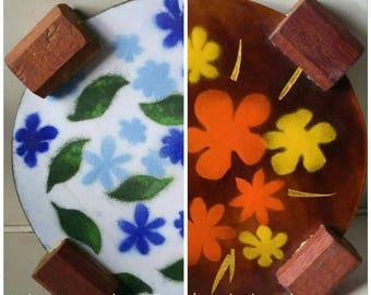 Mid century trivet enamel and wood , reversible , hot plate kitchen decor orange brown blue white