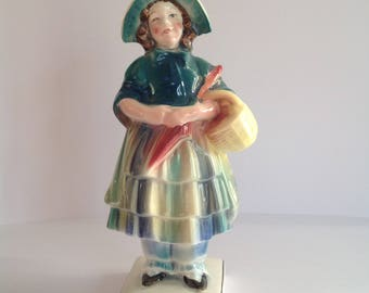 Vintage Katzhutte Figurine of Girl carrying Umbrella and Basket